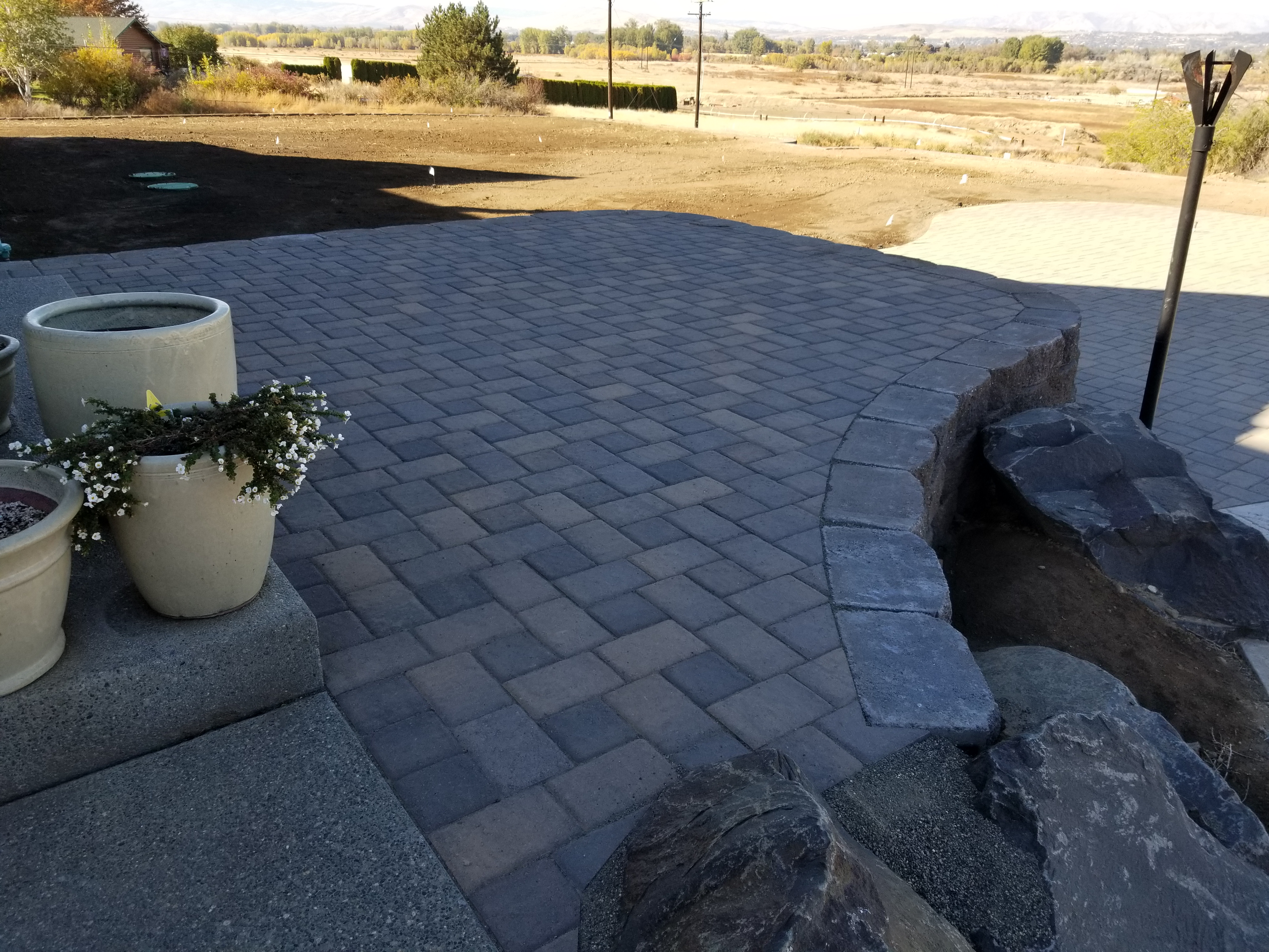 Raised PAVER Hot tub area